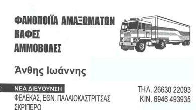 Photo of Αμμοβολές, Φανοποιοί αμαξωμάτων, Φέλεκας, Κέρκυρα, Άνθης Ιωάννης