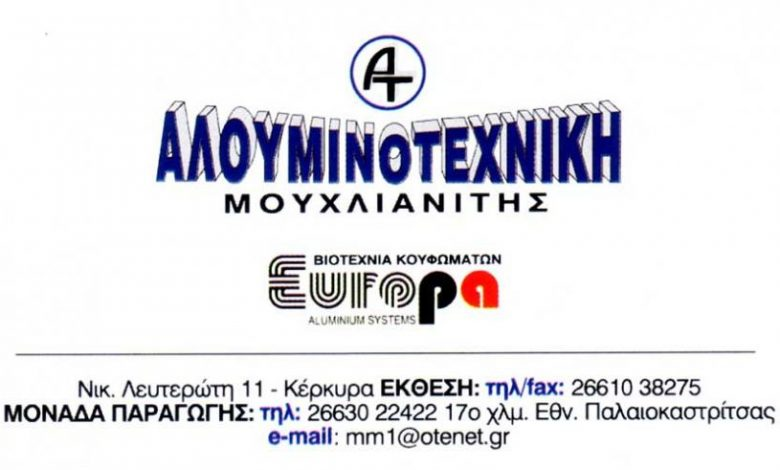 Κουφώματα Αλουμινίου , Κέρκυρα, Αλουμινοτεχνική Μουχλιανίτης